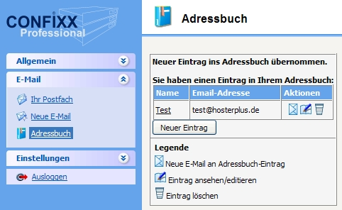 Confixx Webmail, Adressbuch speichern