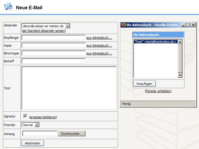 Confixx Webmail, Empfänger aus ihren Adressbuch wählen