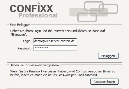 Confixx Login zum Webmail