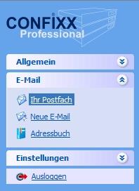 Navigation im Webmail unter Confixx