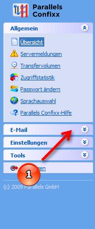 Confixx Navigation E-Mail