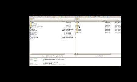 Screenshot vom FTP Programm auf den FTP Server
