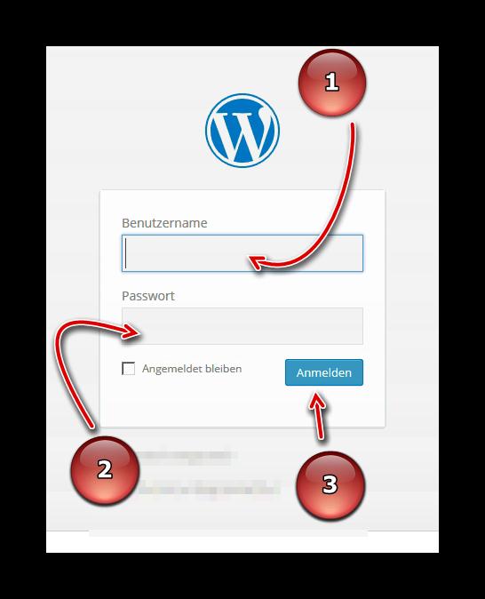Anmelden mit Zugangsdaten in der WordPress Oberfläche