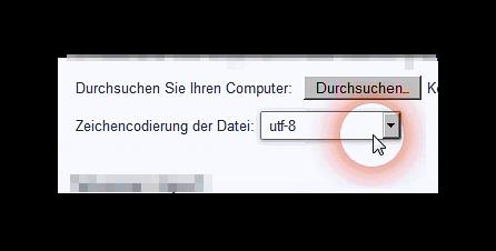 Auswahl der Zeichenkodierung einer Datei