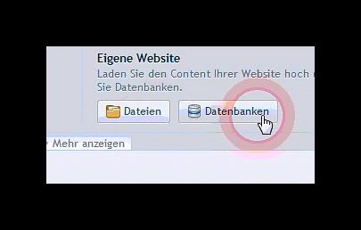 Datenbank Button in der Domain Übersicht