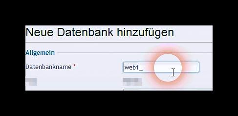 Datenbankname in Plesk angeben