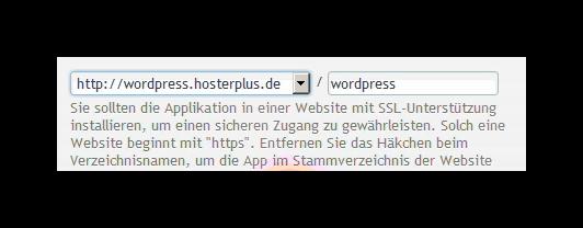 Domain und Verzeichnis auswählen, wo WordPress installiert werden soll