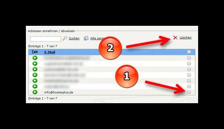 E-Mail-Adresse von Whitelist oder Blacklist im Webmail löschen