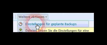 Einstellungen für geplante Backups