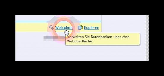 Link zum Webadmin in der Plesk Verwaltung