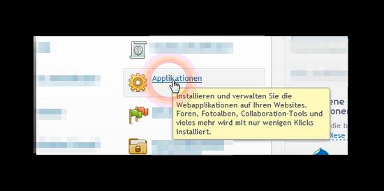 Menüpunkt Applikationen in der Plesk Verwaltung
