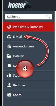 Navigationspunkt E-Mail in Plesk Verwaltung aufrufen