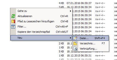 Neue Date über WinSCP anlegen