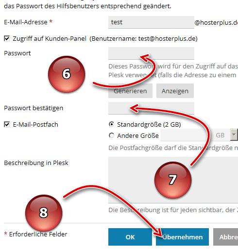 Passwort eingeben und übernehmen in Plesk