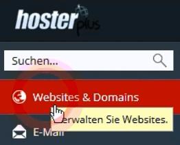 Plesk Navigation Webseites und Domains