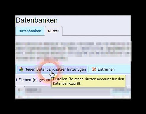 Schaltfläche neuen Datenbanknutzer hinzufügen