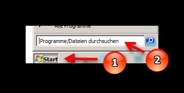 Start und Programme durchsuchen auswählen