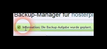 Warten auf Erfolgsmeldung der geplanten Backup-Aufgabe