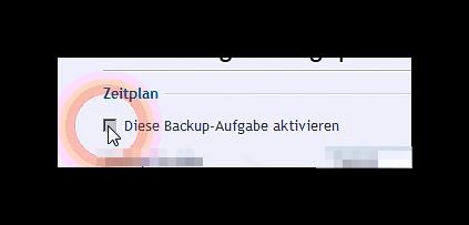 Zeitplan der Backup-Aufgabe aktivieren